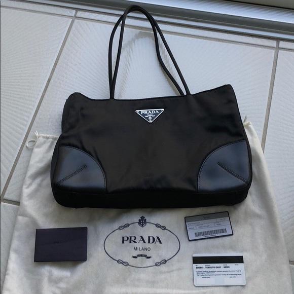 Authentic Vintage Prada TESSUTO Tote Bag. M 5a427b0c8290af4e710566d7 380396787dc1d